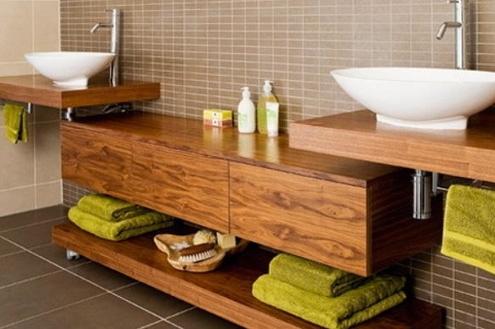 Uso de madeira em banheiros
